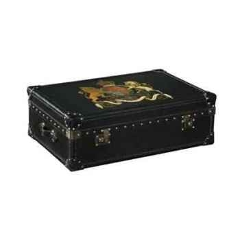 Malle watson en cuir noir avec décoration h 300 x 890 x 590 Arteinmotion BAU-W AT0034