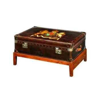 Malle watson en cuir couleur cigar avec décoration et support h 480 x 900 x 590 Arteinmotion BAU-W AT0008