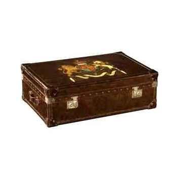Malle watson en cuir couleur cigare avec décoration h 300 x 890 x 590 Arteinmotion BAU-W AT0035