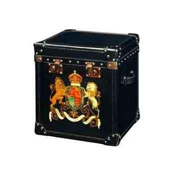 Malle london en cuir noir avec décoration h 570 x 490 x 440 Arteinmotion BAU-LON0001