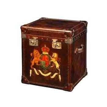 Malle london en cuir couleur cigare avec décoration h 570 x 490 x 440 Arteinmotion BAU-LON0002