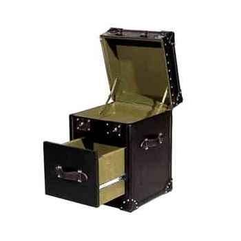 Malle ampleforth en cuir noir avec 1 tiroir h 560 x 420 x 400 Arteinmotion BAU-AMP0004
