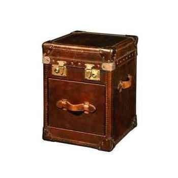 Malle ampleforth en cuir cigare avec 1 tiroir h 560 x 420 x 400 Arteinmotion BAU-AMP0005