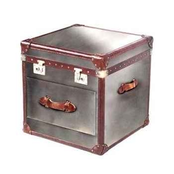 Malle ampleforth en cuir naturel blanc et brun avec un tiroir h 600 x 590 x 590 Arteinmotion BAU-AMP0061