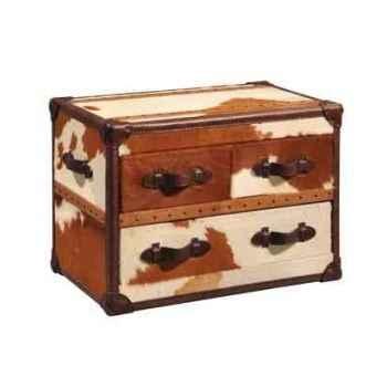 Bahut stonyhurst en cuir naturel blanc et brun avec 3 tiroirs h 580 x 800 x 500 Arteinmotion CAS-STO0018