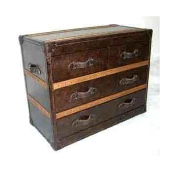 Bahut stonyhurst en cuir cigare avec 4 tiroirs h 800 x 1010 x 500 Arteinmotion CAS-STO0010
