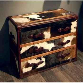 Bahut stonyhurst en cuir naturel blanc et brun avec 4 tiroirs h 800 x 1010 x 500 Arteinmotion CAS-STO0017