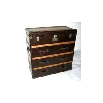 Malle ampleforth en cuir couleur cigare avec 4 tiroirs h 1020 x 1020 x 510 Arteinmotion BAU-AMP0033