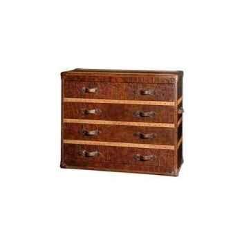 Bahut stonyhurst en cuir couleur cigare avec finition en croco et 5 tiroirs h 1020 x 1200 x 500 Arteinmotion CAS-STO0002