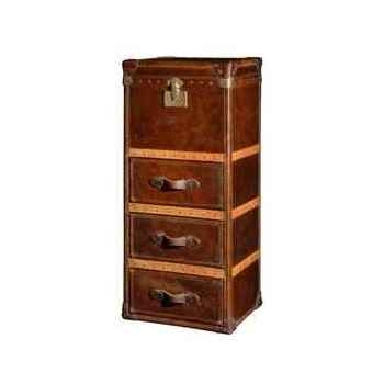 Malle winchester en cuir couleur cigare avec 3 tiroirs h 1230 x 520 x 420 Arteinmotion BAU-W IN0015