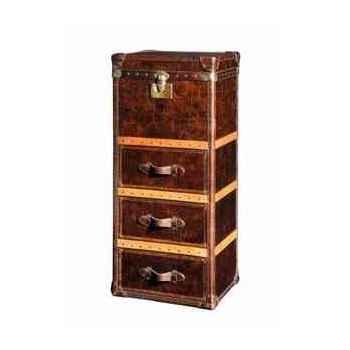 Malle winchester en cuir couleur cigare avec finition en croco et 3 tiroirs h 1230 x 520 x 420 Arteinmotion BAU-W IN0016