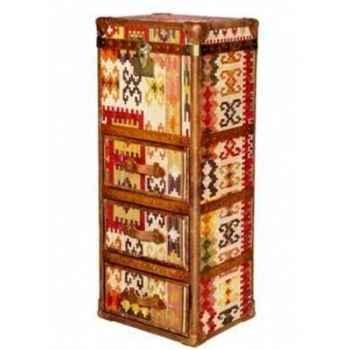 Malle winchester en kilim avec 3 tiroirs h 1230 x 520 x 420 Arteinmotion BAU-W IN0040