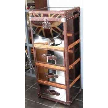 Malle winchester en acier brillant avec 3 tiroirs h 1230 x 520 x420 Arteinmotion BAU-W IN0057