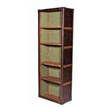 Bibliothèque keats en cuir couleur cigare h 2000 x 670 x 370 Arteinmotion LIB-KEA0010