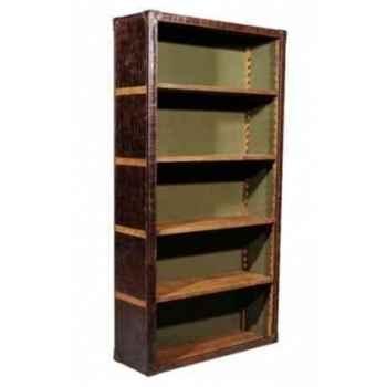 Bibliothèque kipling en cuir couleur cigare avec finition en croco h 2000 x 1060 x 370 Arteinmotion LIB-KIP0001