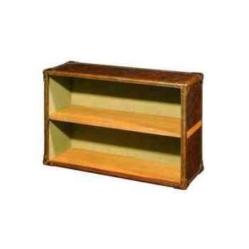 Bibliothèque kipling en cuir couleur cigare avec finition en croco h 700 x 1000 x 350 Arteinmotion LIB-KIP0002