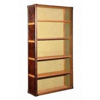Bibliothèque kipling en cuir couleur cigare h 2000 x 1060 x 370 Arteinmotion LIB-KIP0003
