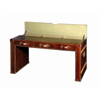 Table bureau en cuir couleur cigare h 780 x 1500 x 800 Arteinmotion TAV-DES0003
