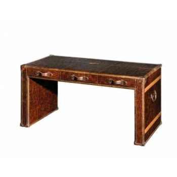Table bureau en cuir couleur cigare avec finition en croco h 780 x 1500 x 800 Arteinmotion TAV-DES0004