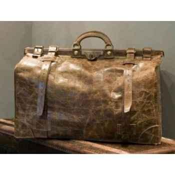 Sac gladstone en cuir couleur cigare avec finition en croco h 380 x 630 x 380 Arteinmotion COM-BOR0026