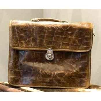 Sac laptop en cuir couleur cigare avec finition en croco h 330 x 420 x 150 Arteinmotion COM-BOR0056