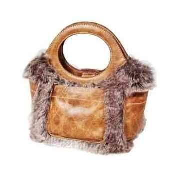 Sac pocket en cuir et poils couleur cigare h 250 x 290 x 180 Arteinmotion COM-BOR0025