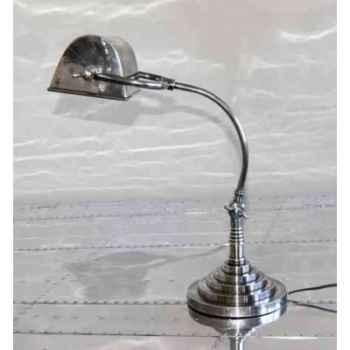 Lampe de bur eau en laiton plaqué d'argent avec abat-jour rectangulaire h 550 x 260 x 300 Arteinmotion LAM-PRO0026