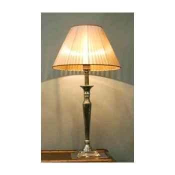 Lampe de bureau en laiton plaqué d\'argent avec base carré et abat-jour en tissu h 680 Arteinmotion LAM-PRO0023