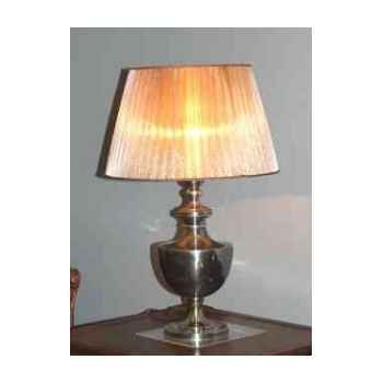 Lampe de bureau en laiton plaqué d\'argent avec base carré et abat-jour en tissu h 490 Arteinmotion LAM-PRO0020