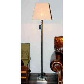 Lampe en laiton plaqué d\'argent avec base carré et abat-jour en tissu h 1575 Arteinmotion LAM-PRO0019