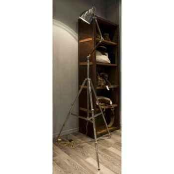 Lampe trépied en laiton plaqué d\'argent avec abat-jour ovale h 1600- 2000 Arteinmotion LAM-PRO0017