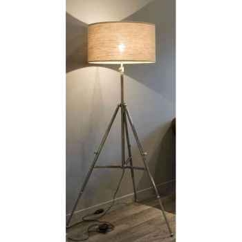 Lampe trépied en laiton plaqué d\'argent avec abat-jour en tissu h 1370- 1760 Arteinmotion LAM-PRO0016