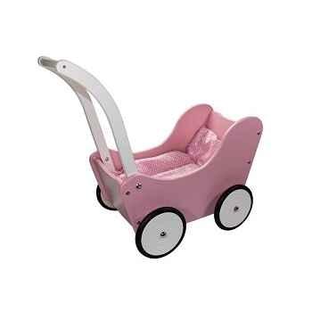 Landau de poupée rétro rose et blanc en bois de hêtre New classic toys 0758