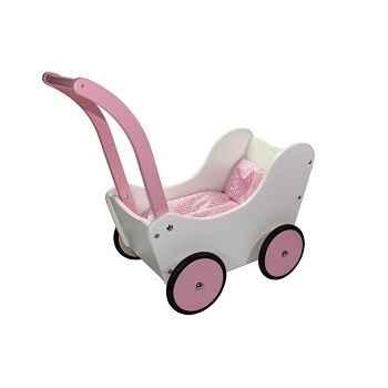 Landau de poupée rétro blanc et rose en bois de hêtre New classic toys 0759