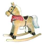 chevaa bascule peluche marron clair moyen new classic toys 1141