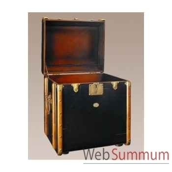 Malle de cabine bout canapé, noire décoration marine amf mf079b