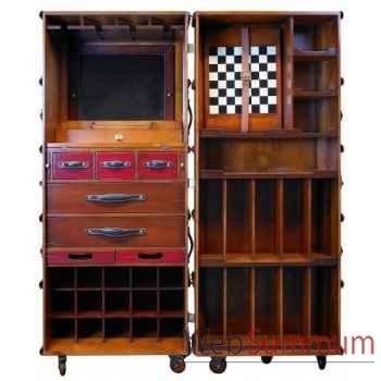 Malle de cabine bar, noire décoration marine amf mf078b