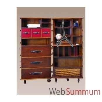 Malle de cabine armoire, noire décoration marine amf mf077b