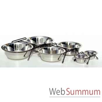 Support de 2 gamelles inox 21 cms Sellerie Canine Vendéenne 16123