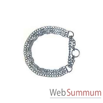 Collier 1/2 etrangleur chrome 3 rangs l. 55 cm Sellerie Canine Vendéenne 20955