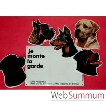 """Plaque""""je monte la garde"""" g.m. sans chien Sellerie Canine Vendéenne 27104"""