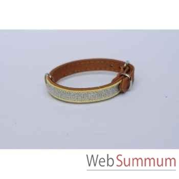 Collier cuir nubuck dble 12 mm l. 28 cm- avec galon Sellerie Canine Vendéenne 31301