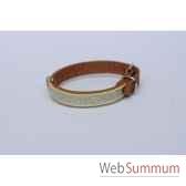 collier cuir nubuck dble 12 mm 31 cm avec galon sellerie canine vendeenne 31302