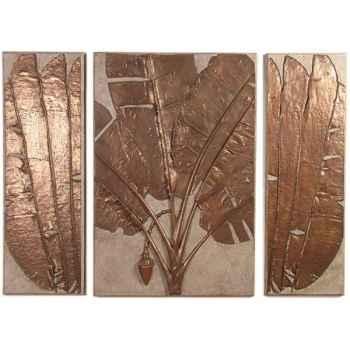 Décoration murale-Modèle Banana Leaf Wall Plaque Triptych, surface granite combinés avec bronze-bs4117gry/nb