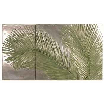 Décoration murale-Modèle Palm Triptych, surface aluminium-bs4128alu