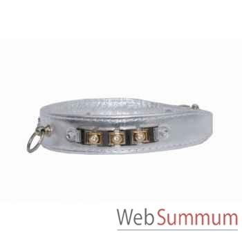 Collier cuir veau argent 26mm l. 43 cm-bracelet avec strass Sellerie Canine Vendéenne 31568