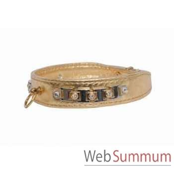 Collier terrier cuir veau glace or 26mm l. 43cm- bracelet strass Sellerie Canine Vendéenne 31576