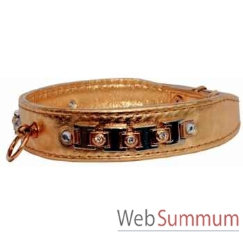 Collier terrier cuir veau glace or 30mm l. 48cm-bracelet strass Sellerie Canine Vendéenne 31577
