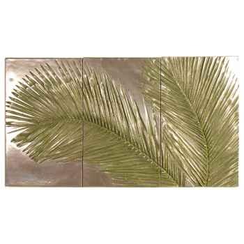 Décoration murale-Modèle Palm Triptych, surface bronze nouveau-bs4128nb