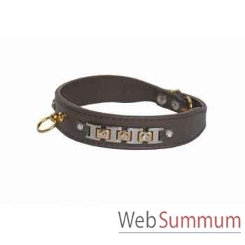 Collier terrier cuir facon agneau 26mm l.43 cm-bracelet strass dore Sellerie Canine Vendéenne 32125